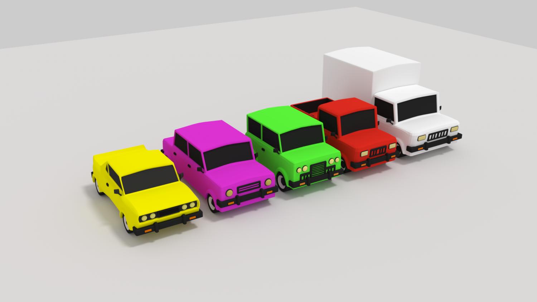 Car pack cartoon 3D model