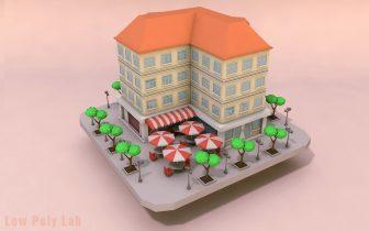 3D Cartoon City Rise Building Low Poly model