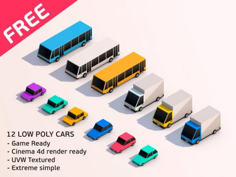 3D Cartoon Low Poly City Cars model Pack