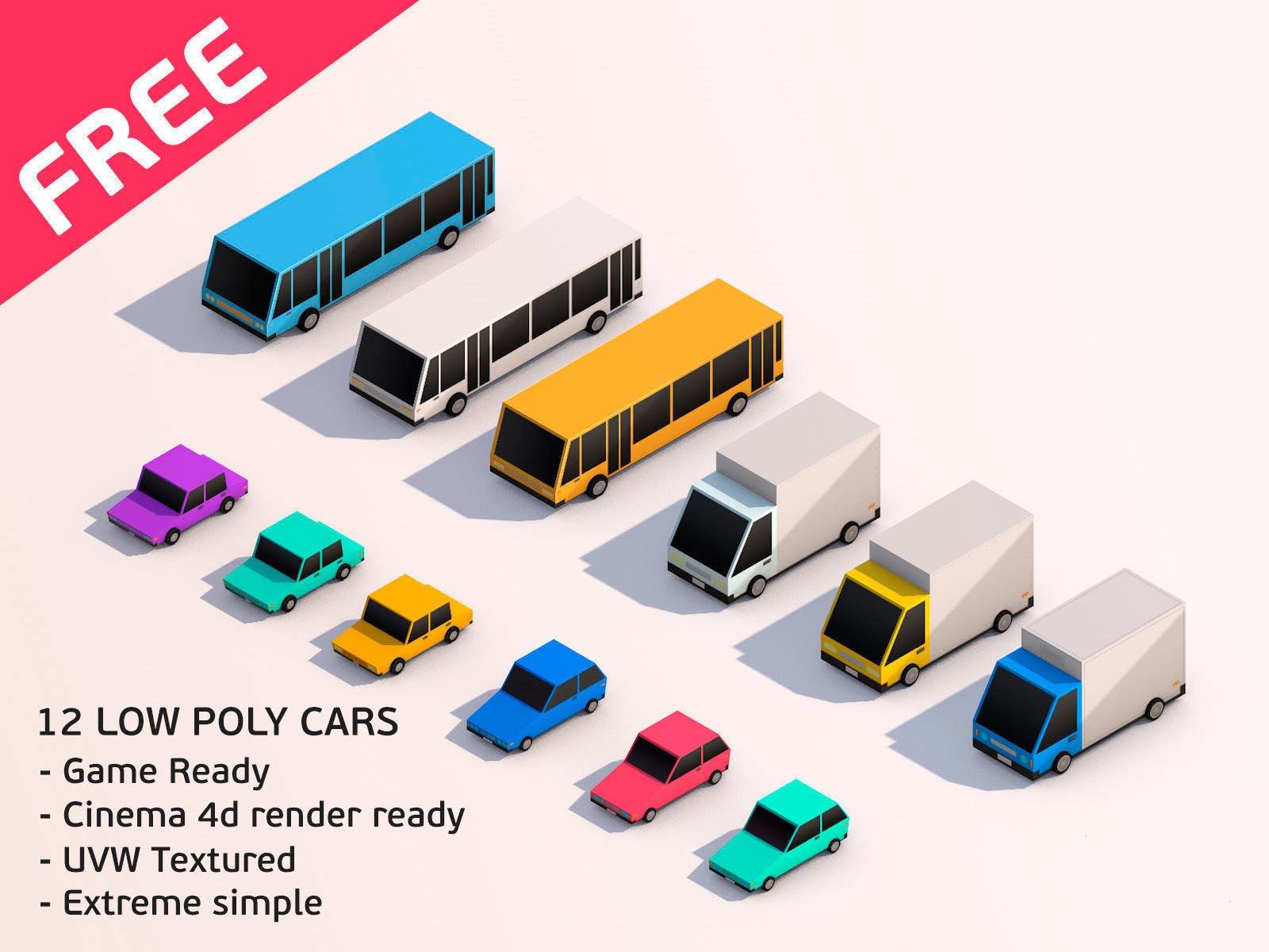 Cartoon Low Poly City Cars Pack Downloadfree3d Com