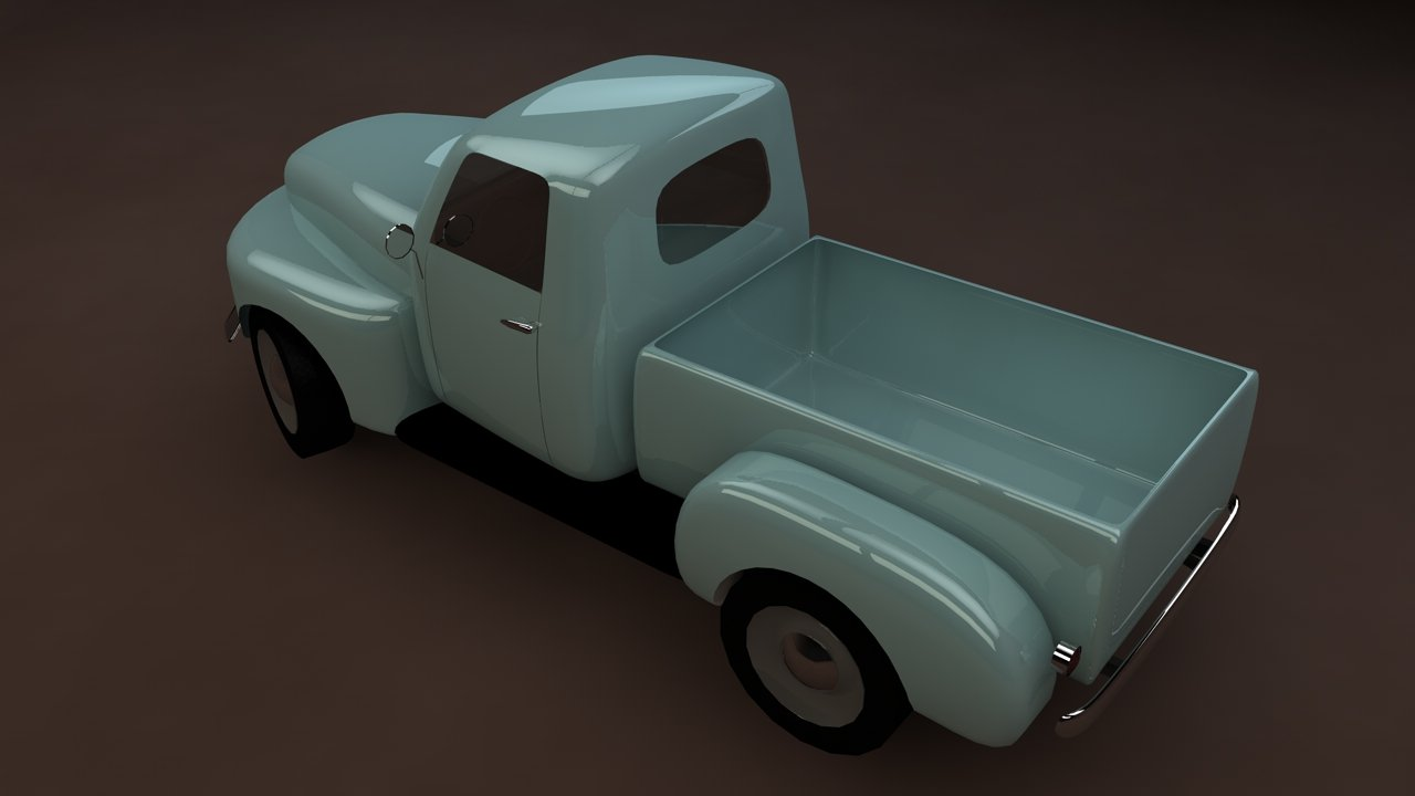 3D Ford F-1 pickup low-poly model