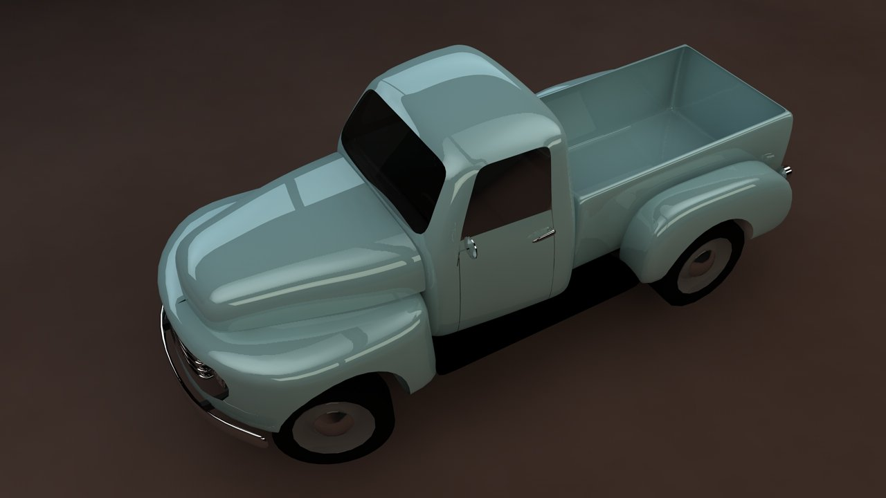 Ford F-1 pickup low-poly