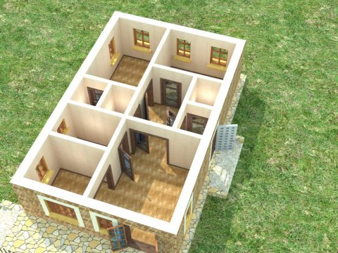 House for an interior D-095 Empty rooms 3D model