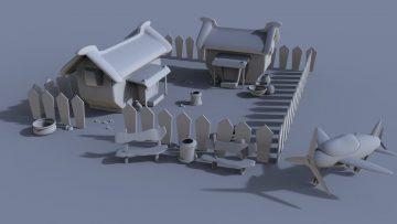 Village environment 3D model