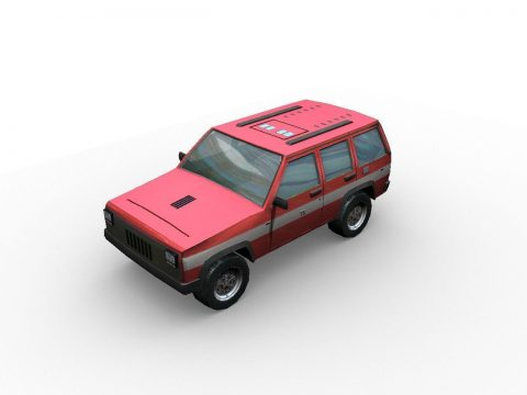 3D Low poly fire car suv model