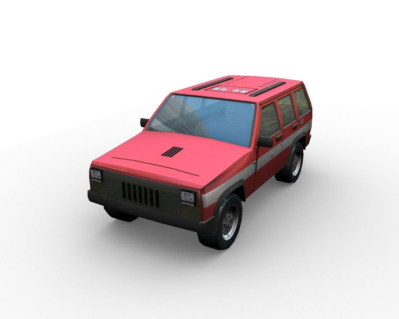 Low poly fire car suv 3D model