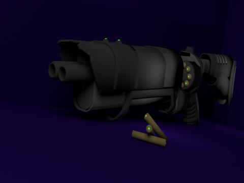 Double-barreled weapon RAPS-90 3D model