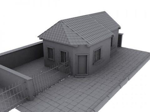 Grey Old House 3D model