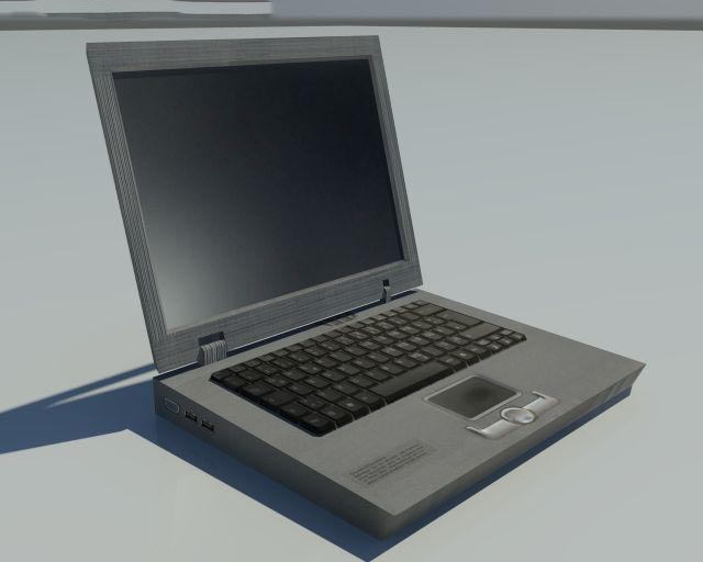 3D Low Poly old Laptop model
