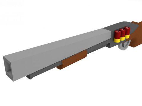 Low poly shot-gun 3D model