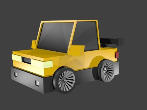 Car yellow low poly 3D model