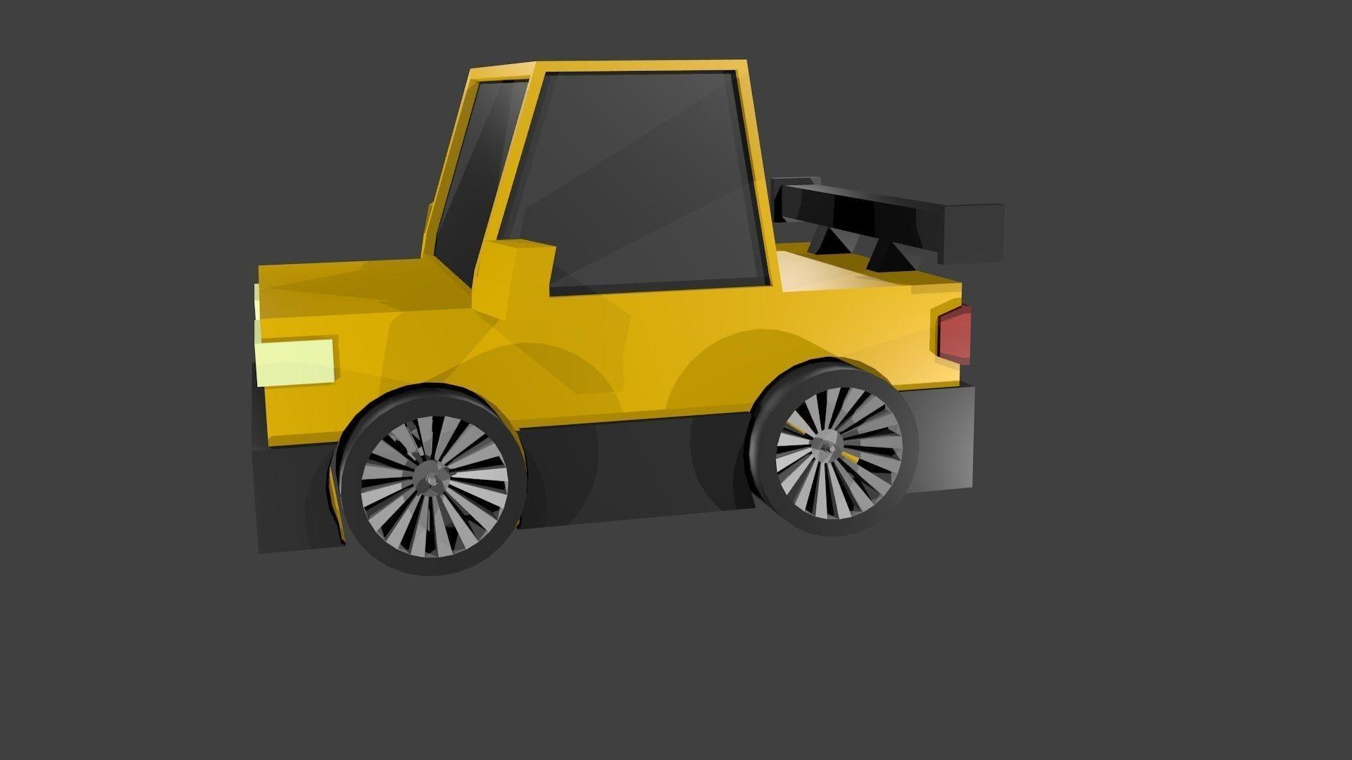3D Car yellow low poly model
