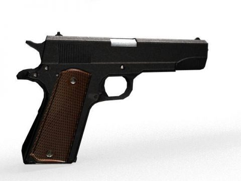 Colt 1911 Gun Low Poly 3D model