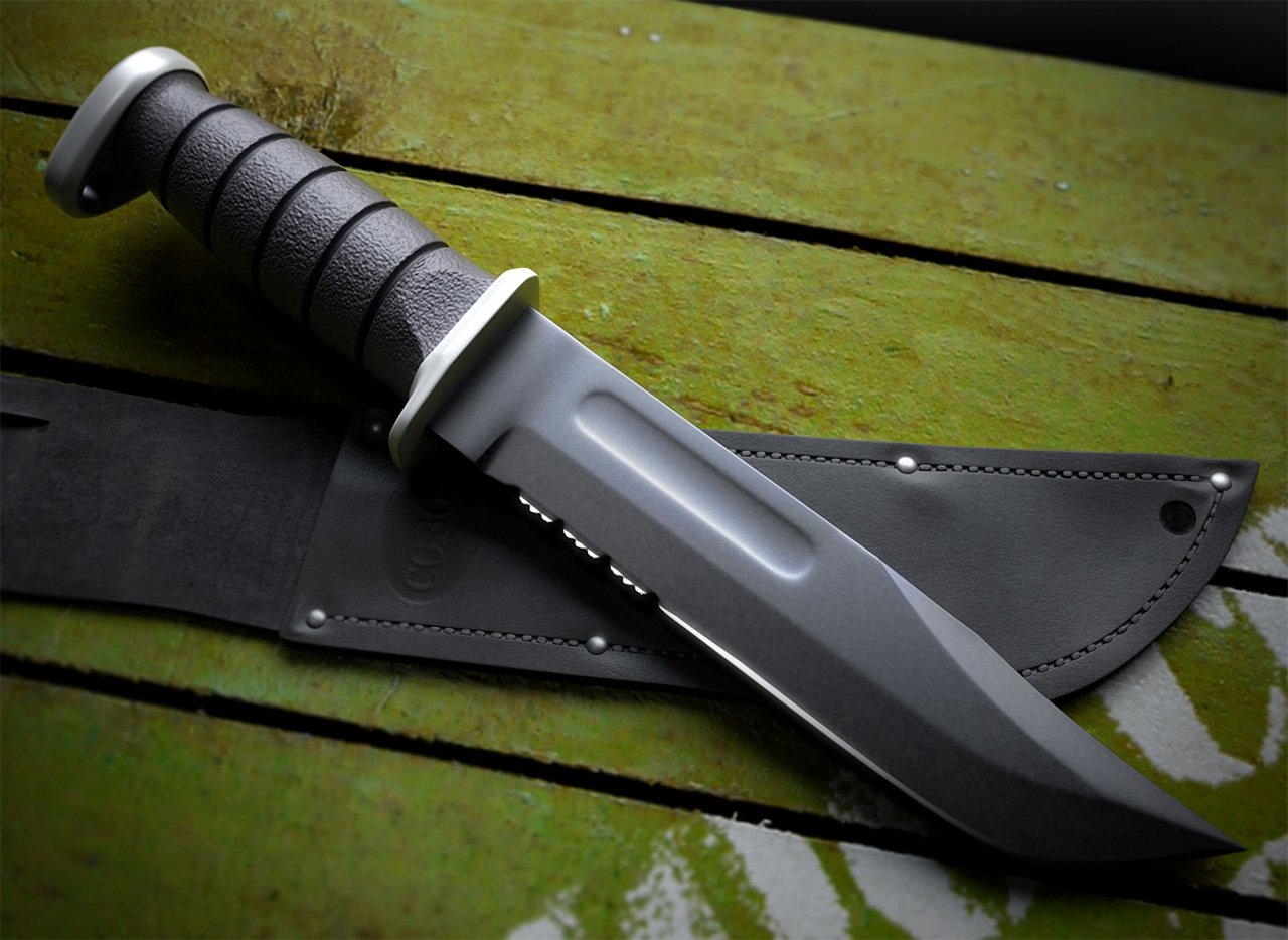 KA BAR USMC combat knife black 3D model