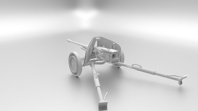 Pak 40 mm Anti-Tank Gun Game Ready 3D model
