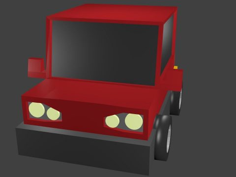 Red car low poly 3D model