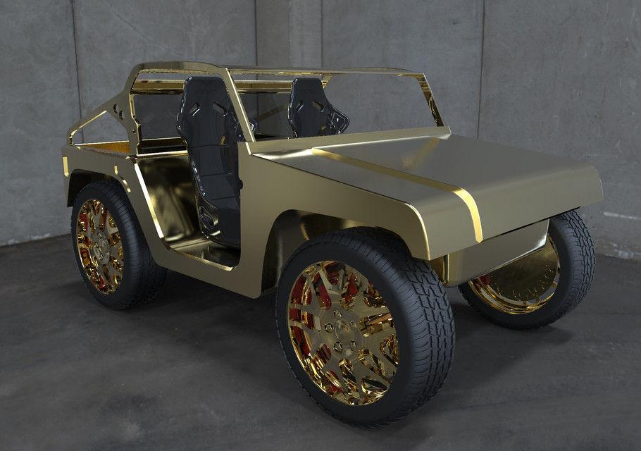 24K Gold Jeep 3D model