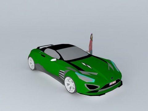 Green sport car 3D model
