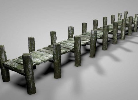 Old Wood Dock 3D model