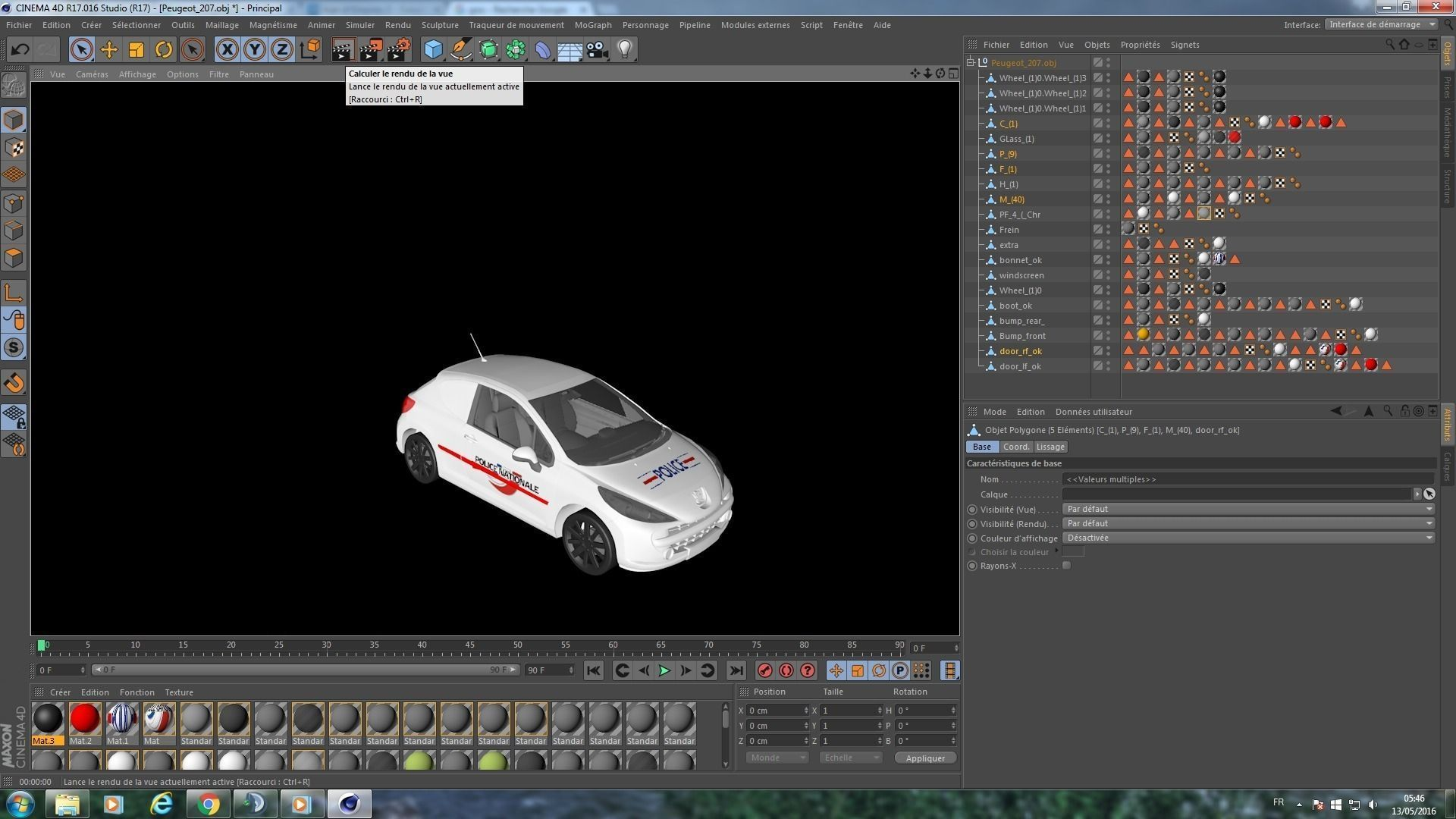 Police French Car 3D model