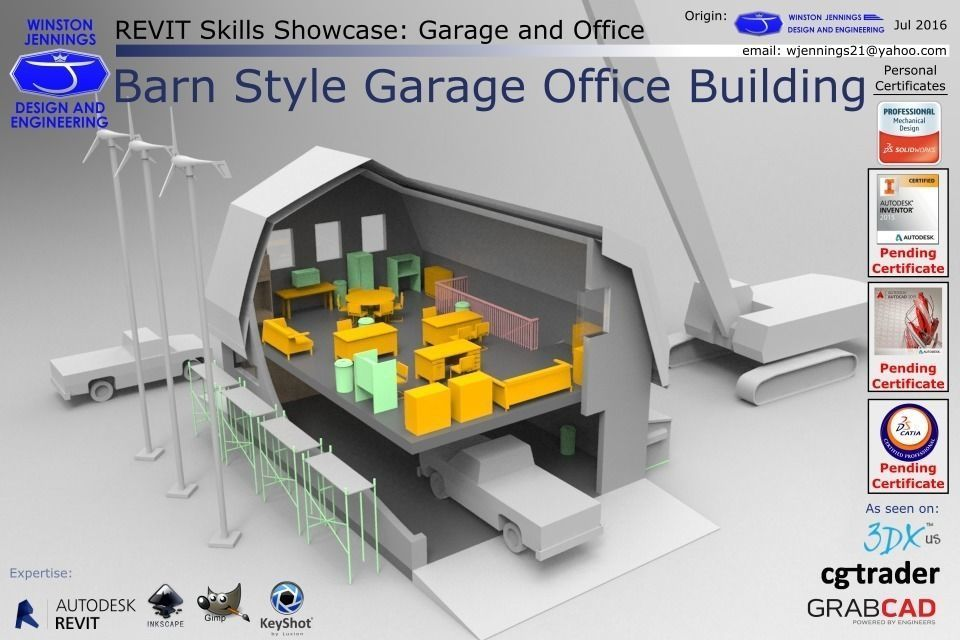 Revit skills showcase barn style garage office building for 3d garage builder