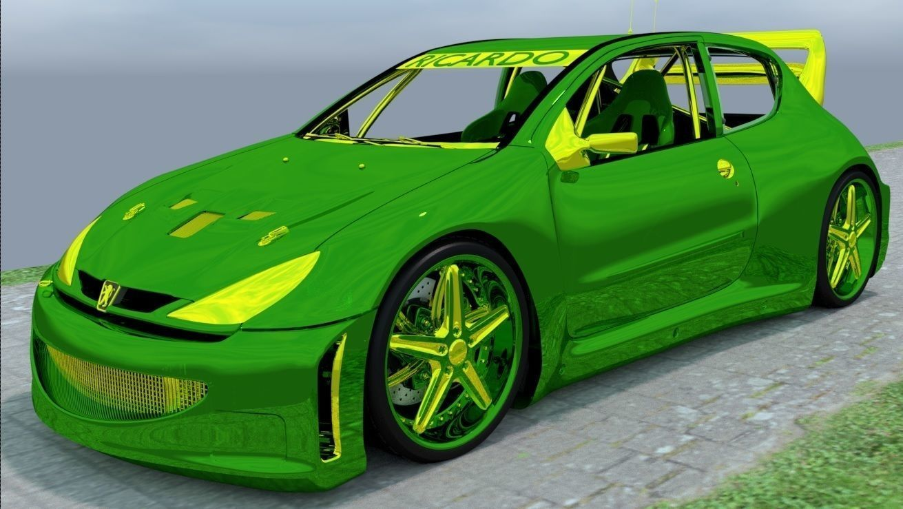 3D Shiny 206 Green and Yellow model