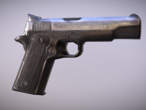 Stylized Low Poly pistol 3D model