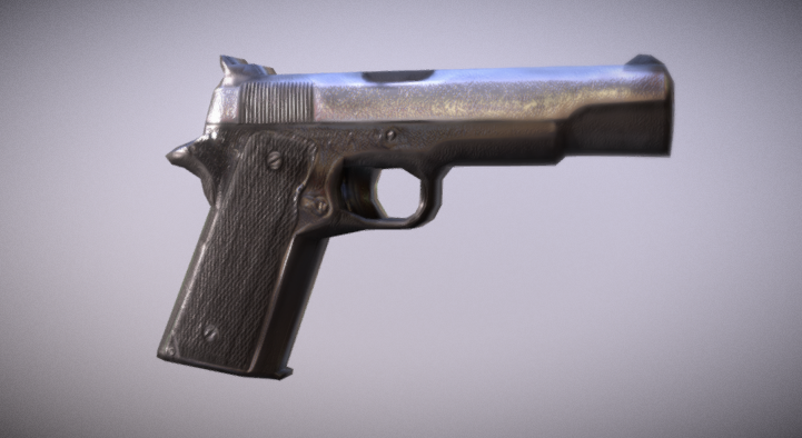 Stylized Low Poly pistol 3D model