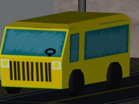 Yellow low Poly Bus 3D model