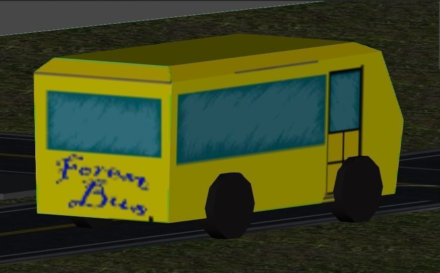3D Yellow low Poly Bus model