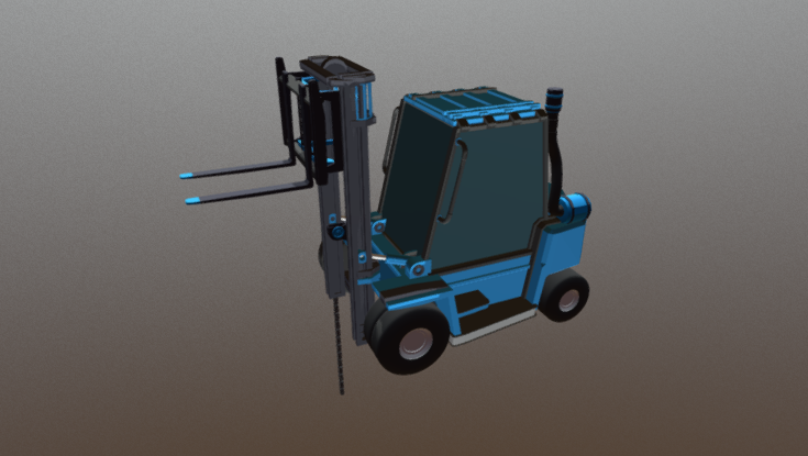 Forklift Low Poly 3D model