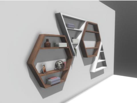 Four Modern Bookshelves 3D model