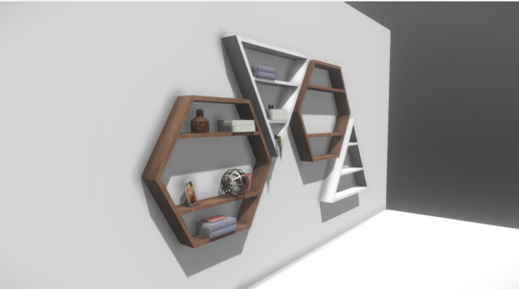 Four Modern Bookshelves 3D model