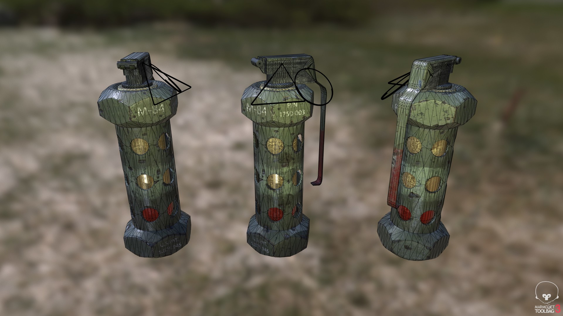 3D M84 Stun Grenade model