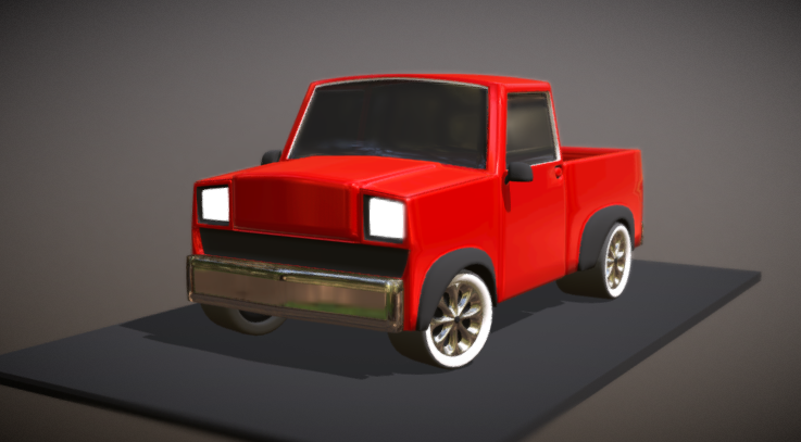 Pickup Truck Low-Poly Subdiv 3D model