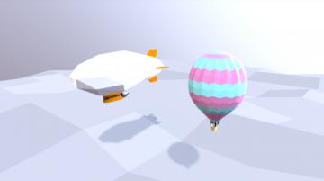 Hot air balloon and zeppelin 3D model