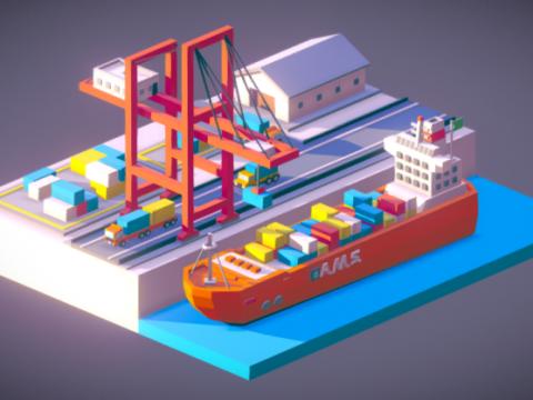 Low Poly Storage Ship 3D model