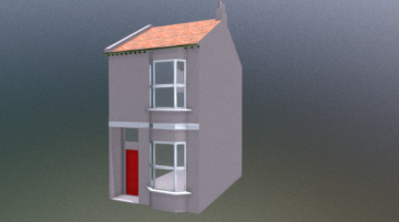 Low poly Victorian terrace 3D model