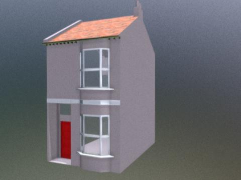 Low poly Victorian terrace 3D model