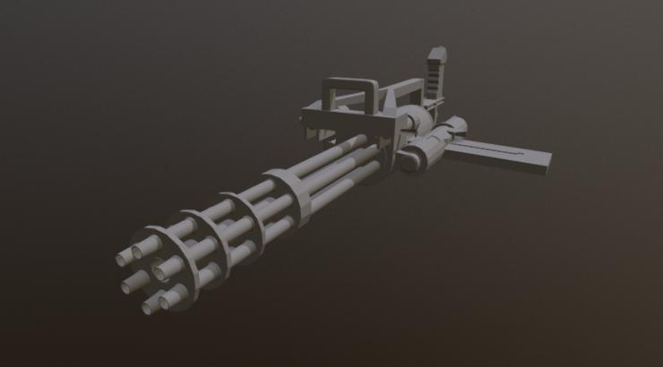 Minigun ECHO low polly 3D model