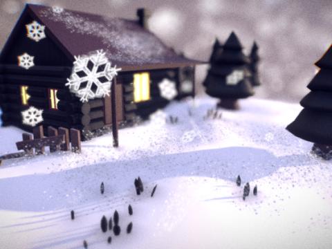 Snow Cabin 3D model