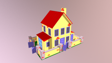 Yellow House With Yard Paper 3D Model