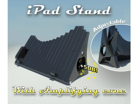Adjustable iPad Stand with amplifying cone 3D model
