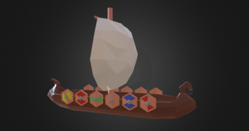 Drakkar Viking ship - Low poly 3D model