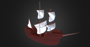 Galleon - Low poly 3D model