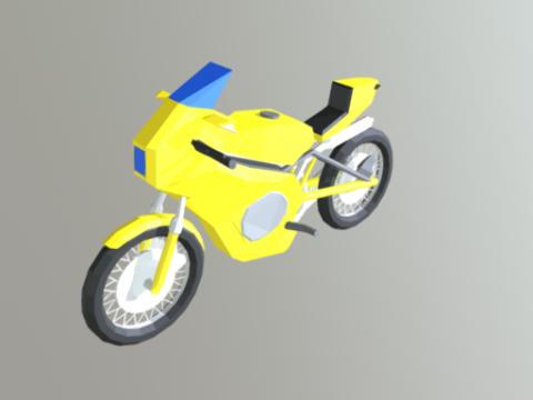 Yamaha low poly bike 3D model
