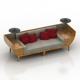Sofa Chinese traditional boat 3d model