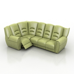 Sofa leather corner 3d model