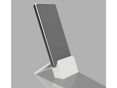 Mobile stand with space for charger cable