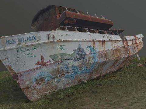 Abandoned washed up boat (photogrammetry)